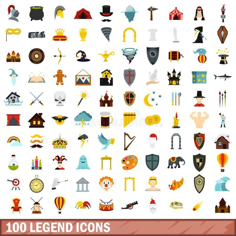 100 icônes de légende réglées, style plat illustration libre de droits