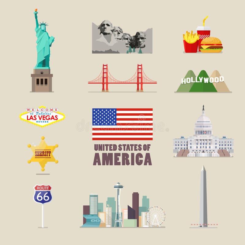 Icônes de l'Amérique réglées illustration stock