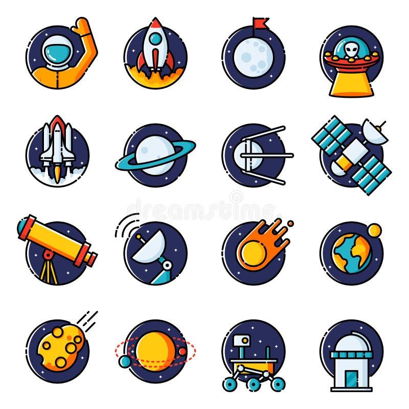 Icônes de l'espace illustration stock