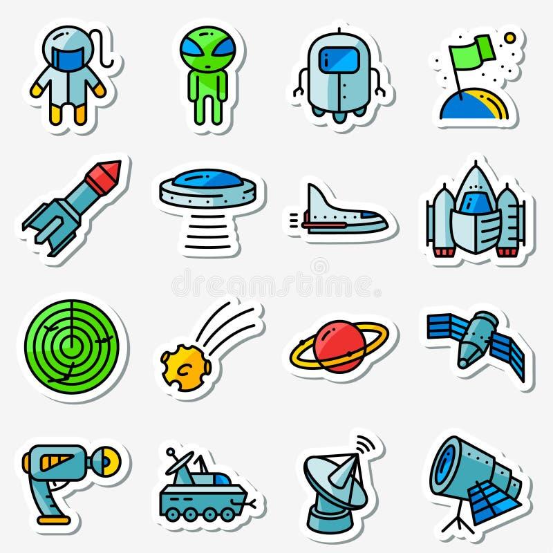 Icônes de l'espace de vecteur réglées Amincissez simplement les autocollants avec la technologie illustration libre de droits