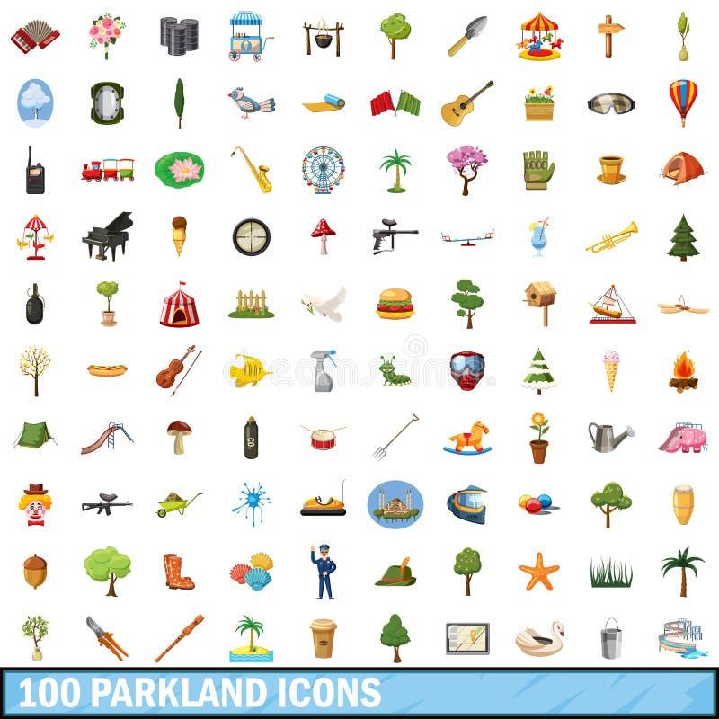100 icônes de l'espace vert réglées, style de bande dessinée illustration libre de droits