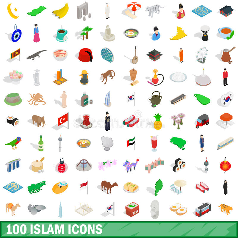 100 icônes de l'Islam réglées, style 3d isométrique illustration de vecteur