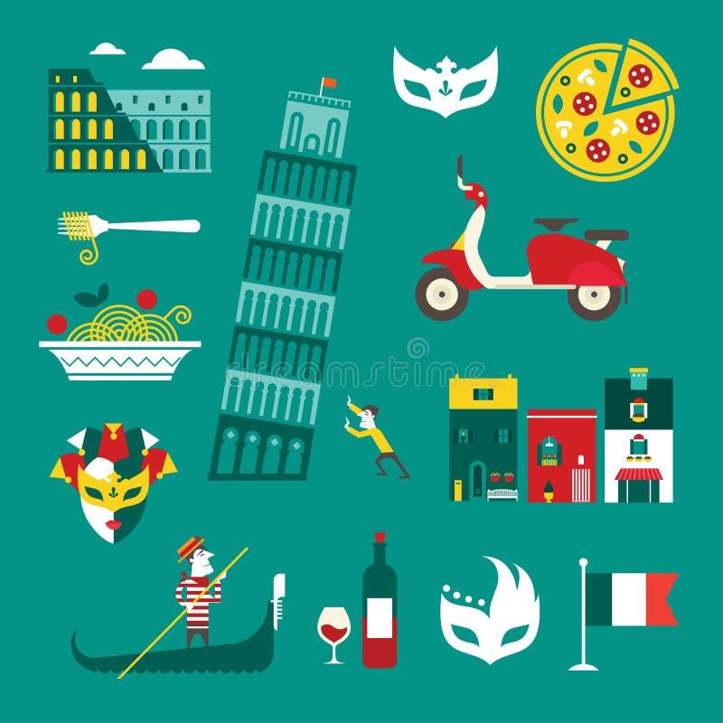 Icônes de l'Italie illustration de vecteur