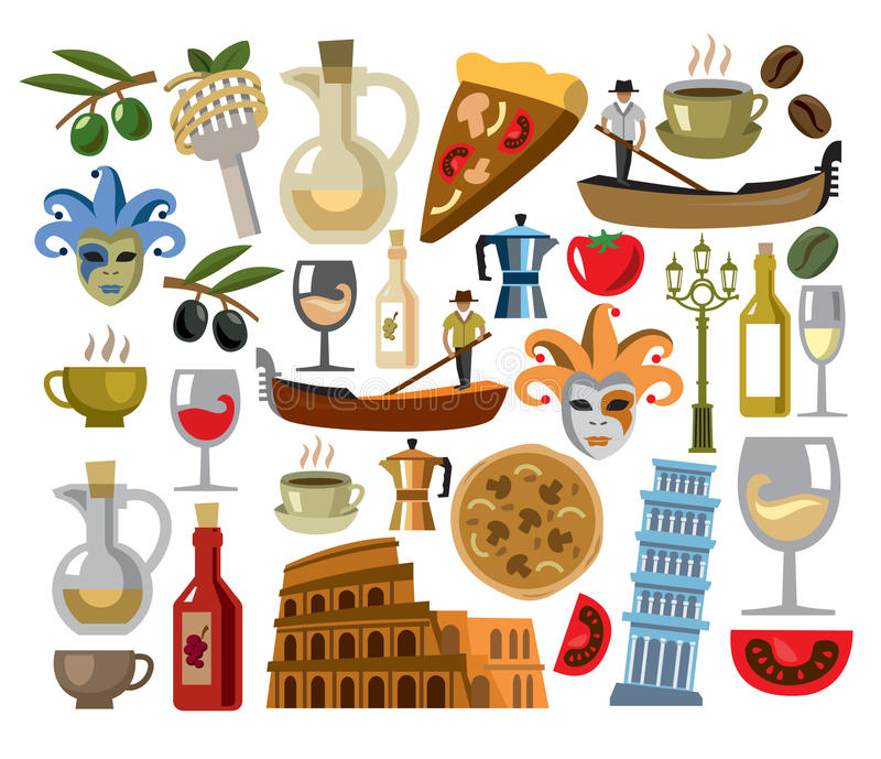 Icônes de l'Italie de vecteur réglées illustration libre de droits