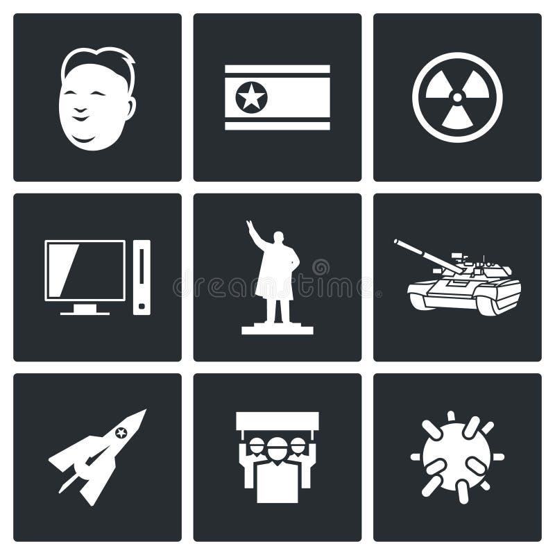 Icônes de la Corée du Nord Illustration de vecteur illustration libre de droits