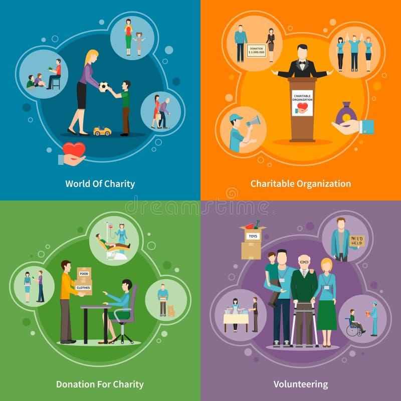 Icônes de la donation 2x2 de charité réglées illustration de vecteur