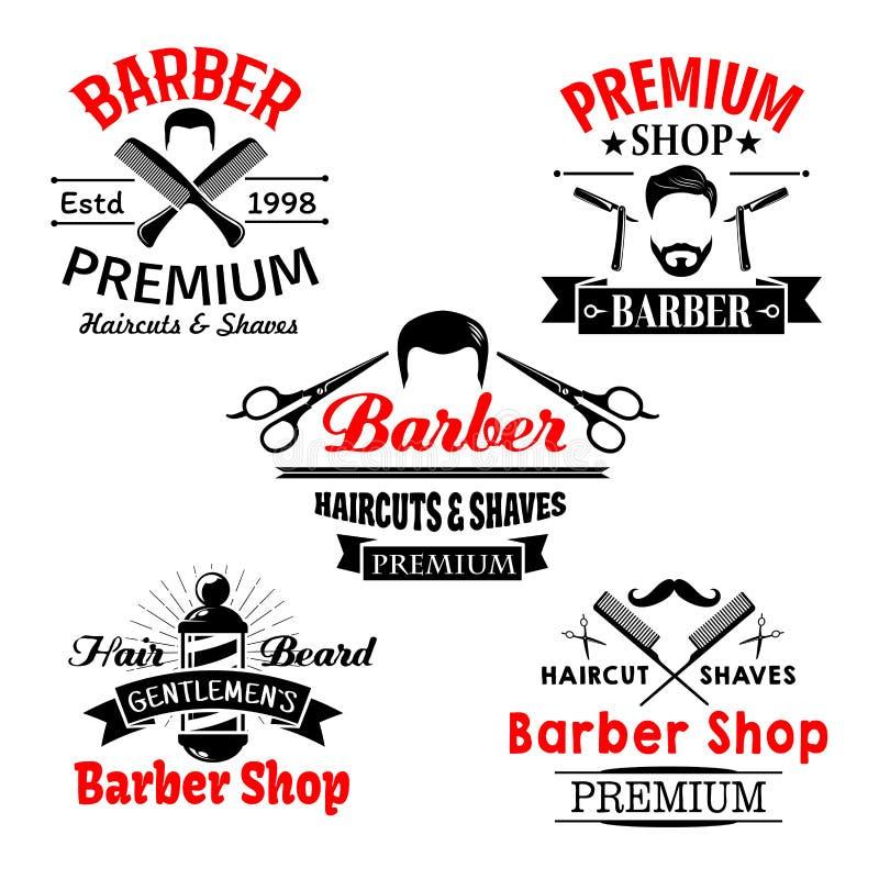 Icônes de la meilleure qualité de vecteur de salon de salon de coiffure réglées illustration stock