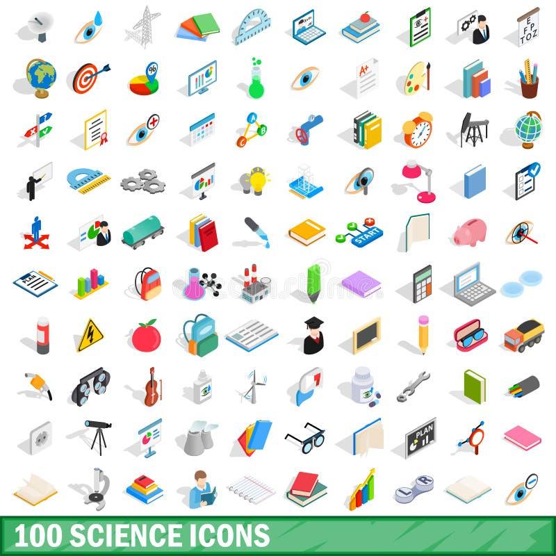 100 icônes de la science réglées, style 3d isométrique illustration stock