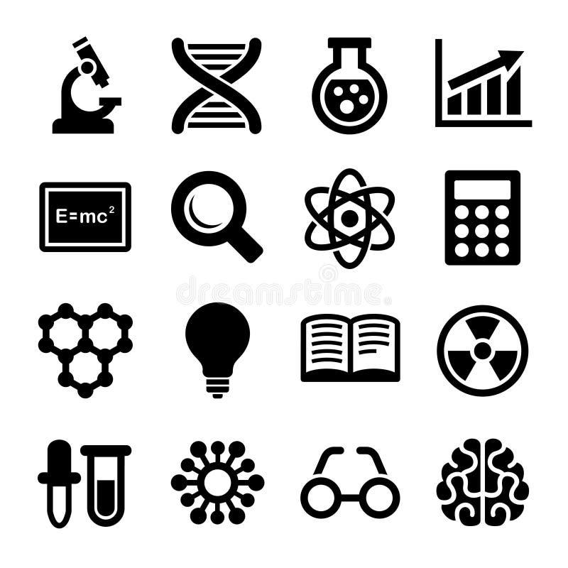 Icônes de la Science réglées Vecteur illustration stock