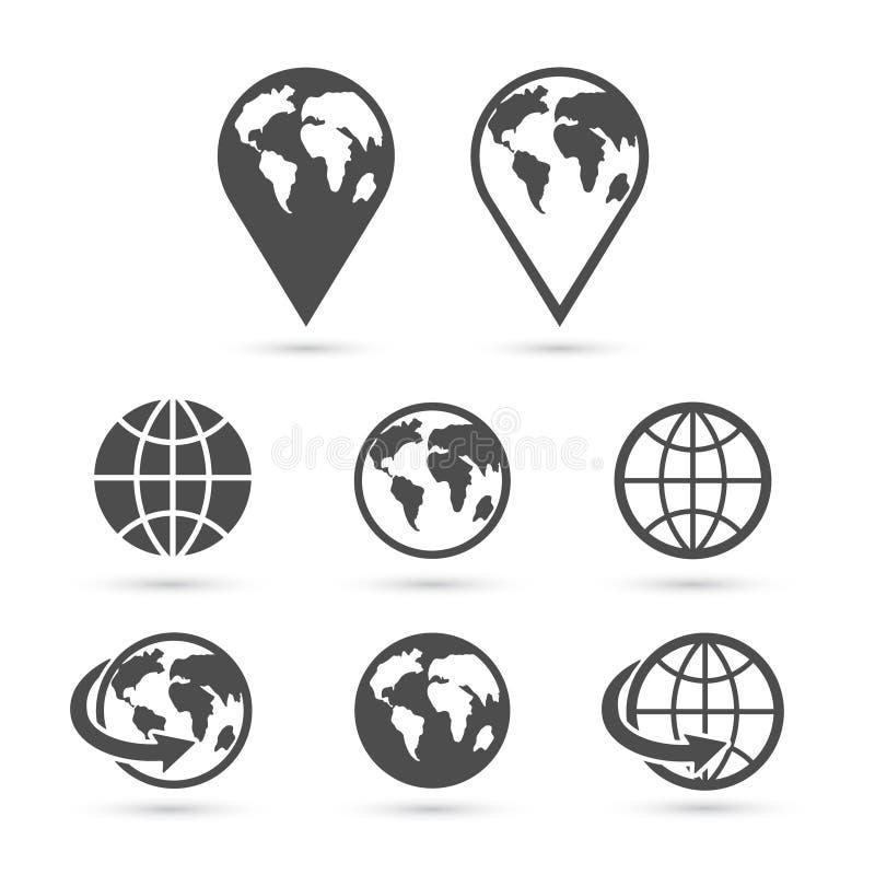 Icônes de la terre de globe réglées sur le blanc Vecteur illustration libre de droits
