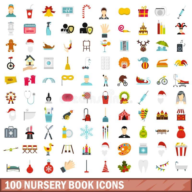 100 icônes de livre de crèche réglées, style plat illustration de vecteur