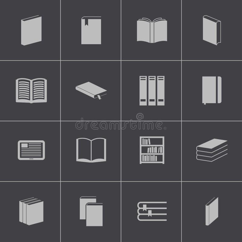 Icônes de livre noir de vecteur réglées illustration stock