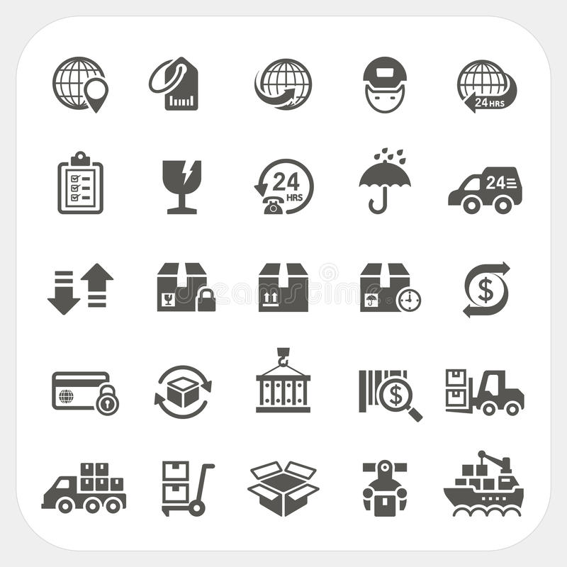 Icônes de logistique et d'expédition réglées illustration stock