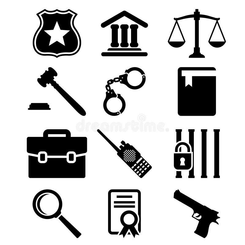 Icônes de loi et de justice réglées illustration de vecteur