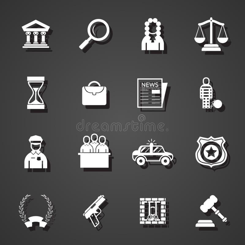 Icônes de loi réglées illustration stock