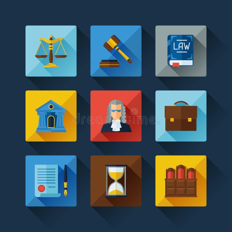 Icônes de loi réglées dans le style plat de conception illustration libre de droits