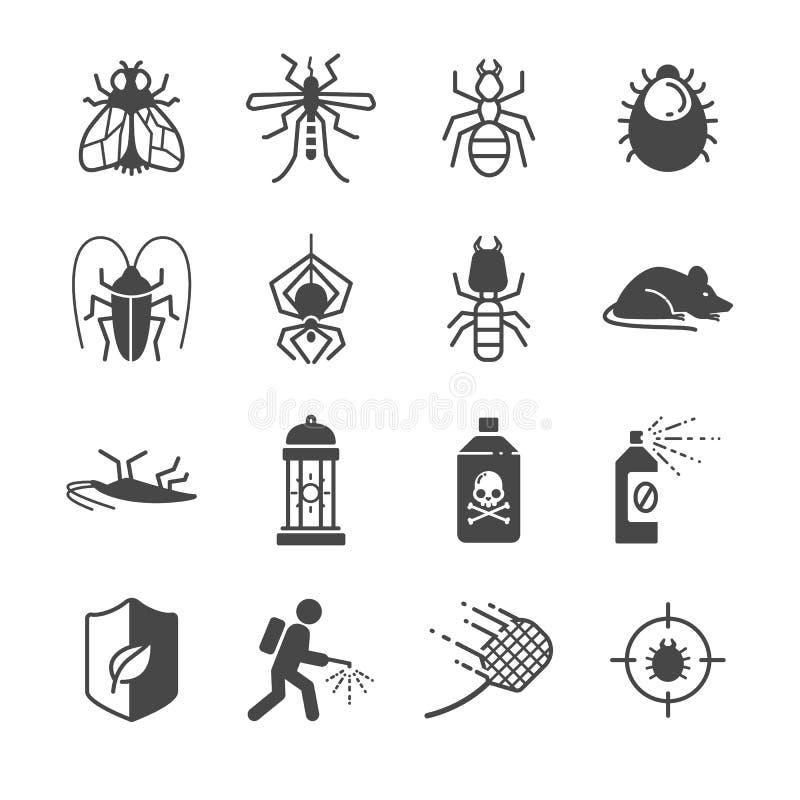 Icônes de lutte contre insectes et parasites illustration libre de droits