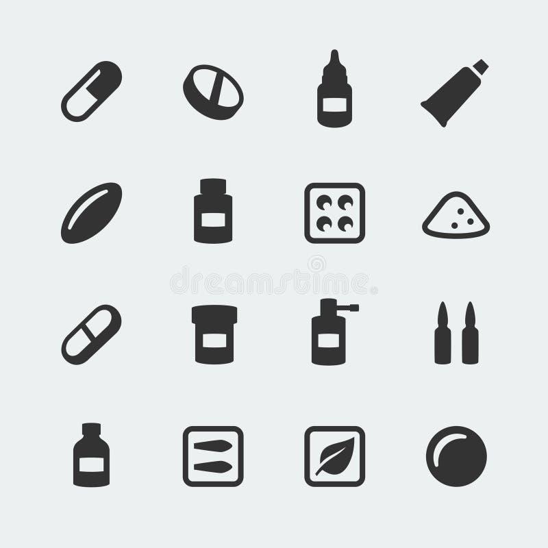 Icônes de médicaments de vecteur réglées illustration stock