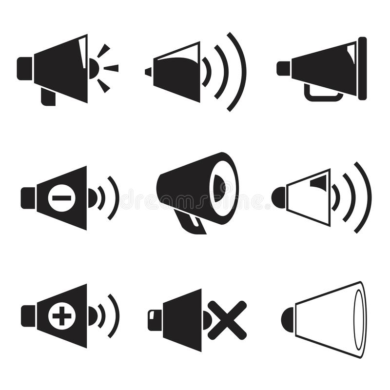 Icônes de mégaphone illustration stock
