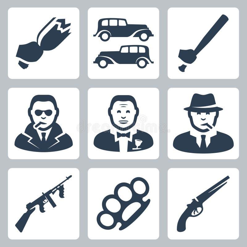 Icônes de Mafia de vecteur réglées illustration stock