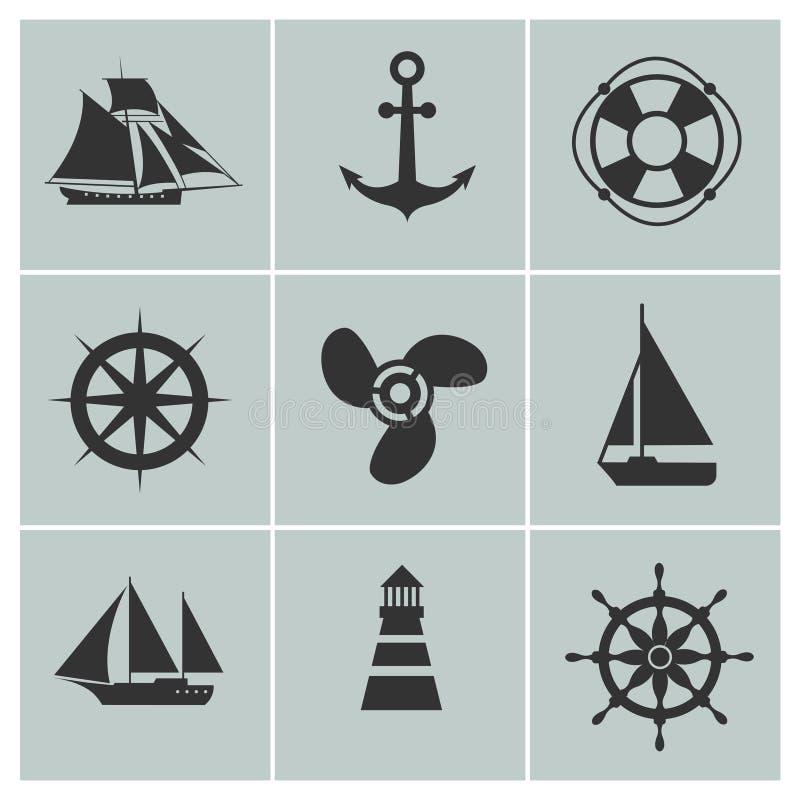 Icônes de marine et d'expédition Le bateau, le bateau ou le yacht, silhouette de vecteur de balise de vie d'ancre signe illustration stock