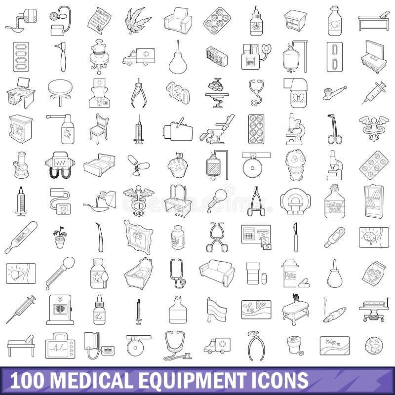 100 icônes de matériel médical réglées, style d'ensemble illustration de vecteur