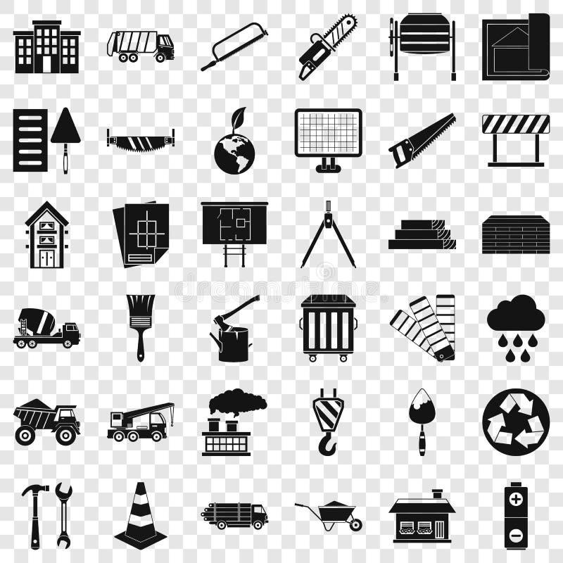 Ic?nes de mat?riau de construction r?gl?es, style simple illustration stock