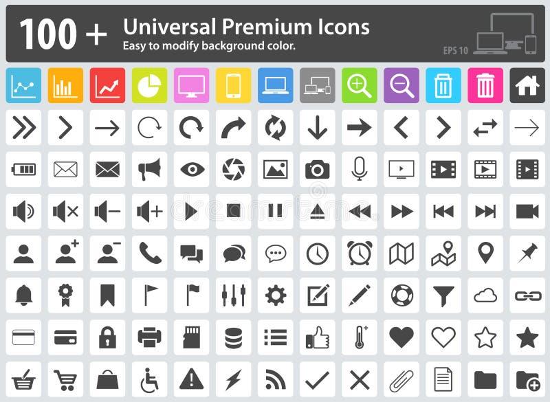 Icônes de media, icônes de Web, icônes de flèche, plaçant des icônes, icônes de nuage, illustration libre de droits