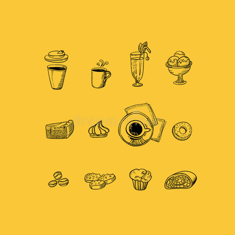 Icônes de menu de dessin de café réglées illustration de vecteur