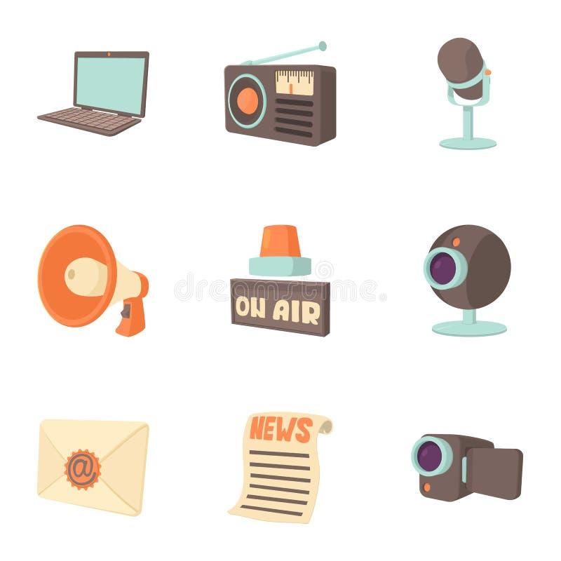 Icônes de messages réglées, style de bande dessinée illustration stock