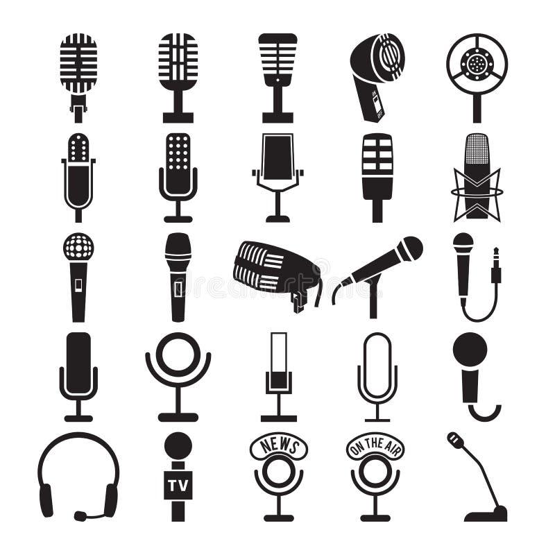 Icônes de microphone réglées illustration stock
