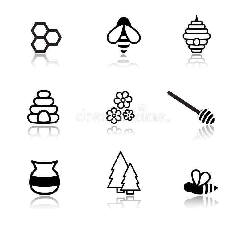 Icônes de miel illustration stock