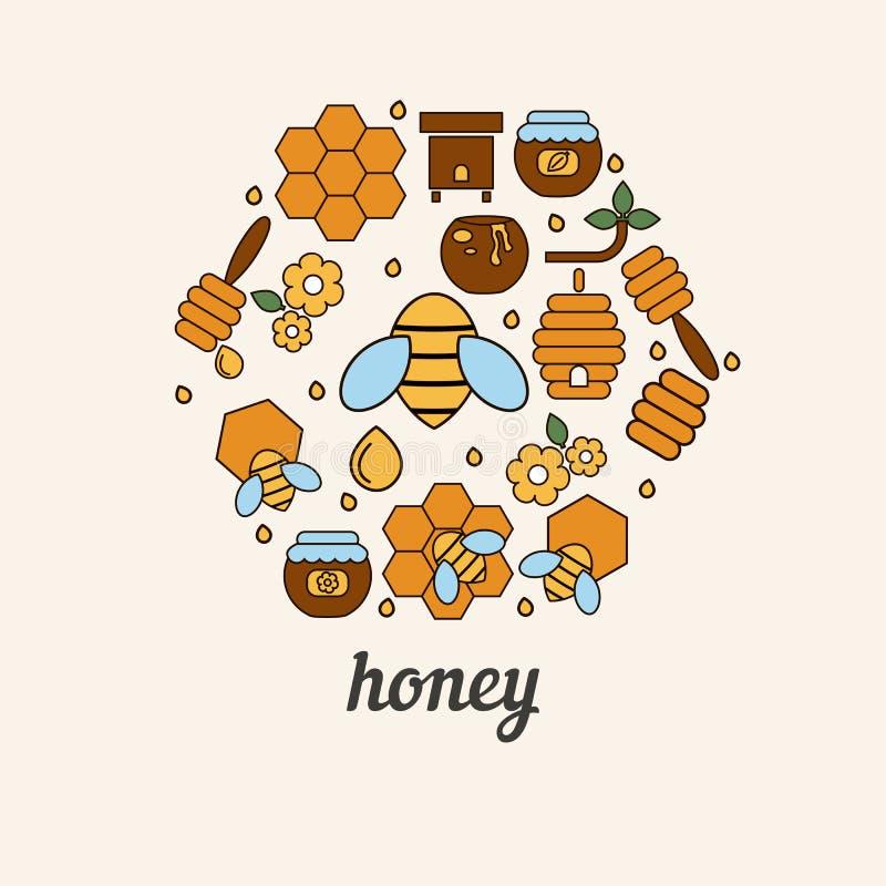Icônes de miel et d'abeille sous forme de nid d'abeilles illustration stock