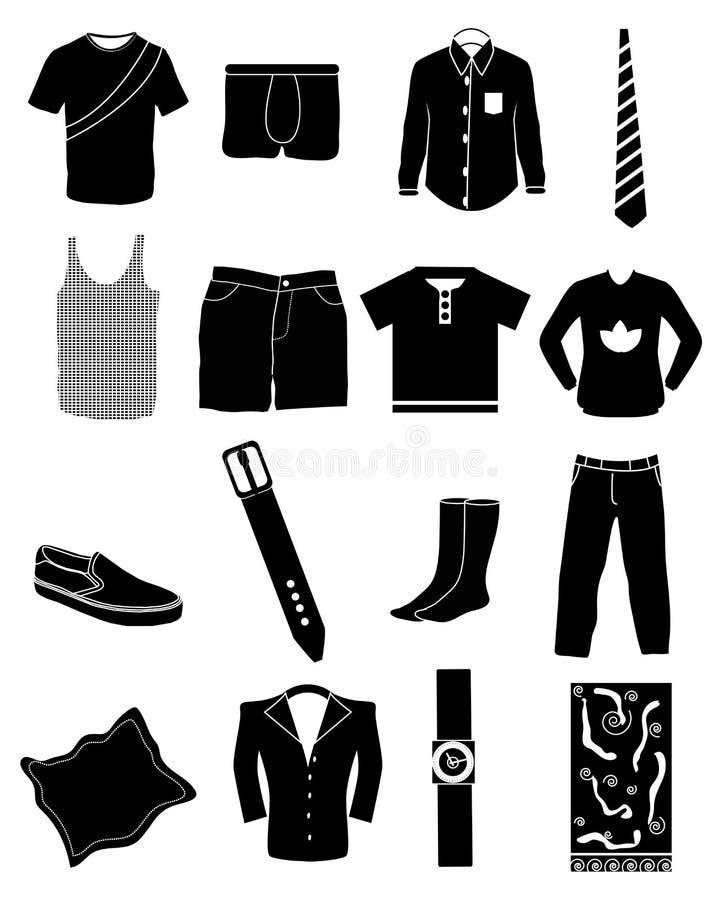 Icônes de mode de monsieurs réglées illustration de vecteur