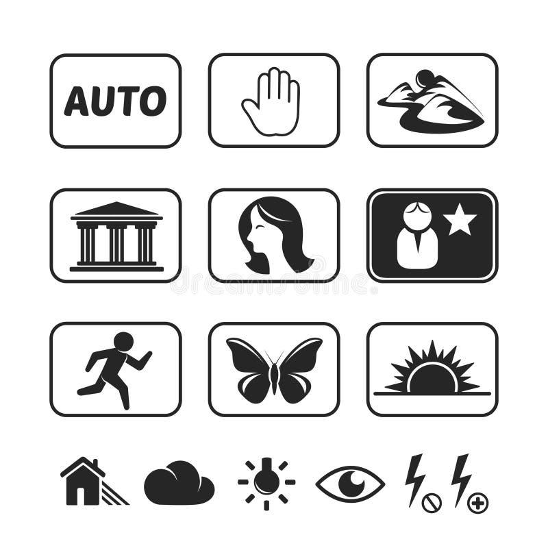 Icônes de modes d'appareil photo numérique réglées illustration stock