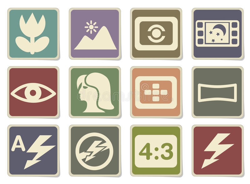Icônes de modes de photo réglées illustration stock