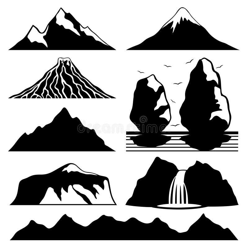 Icônes de montagne illustration stock