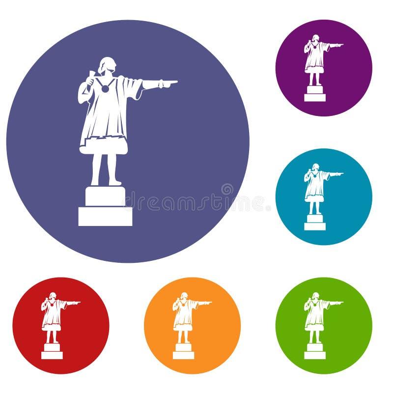 Icônes de monument de Columbus réglées illustration libre de droits