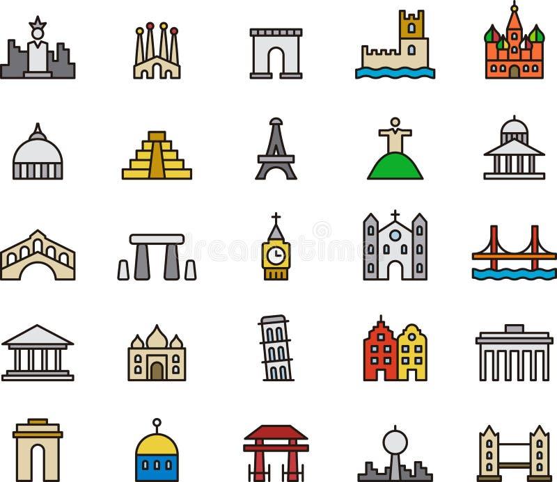 Icônes de monument et de bâtiment illustration libre de droits