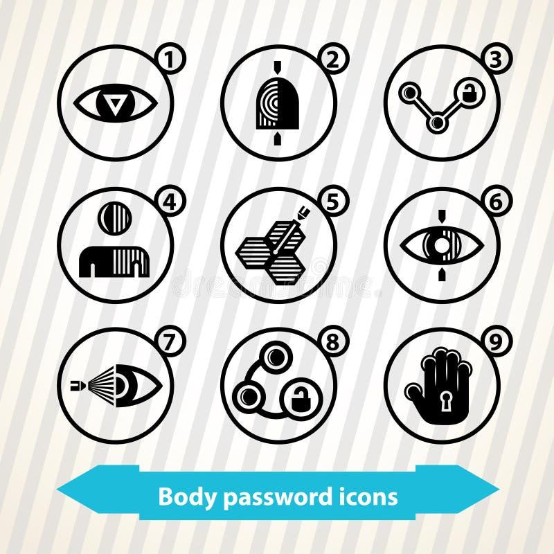Icônes de mot de passe de corps illustration de vecteur