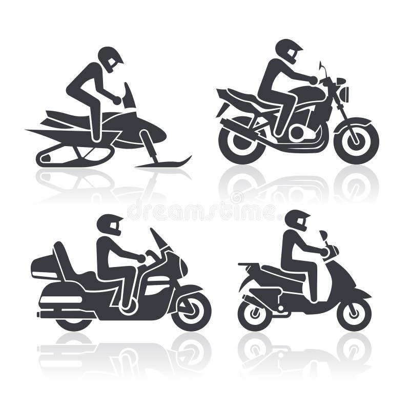 Icônes de moto réglées illustration libre de droits