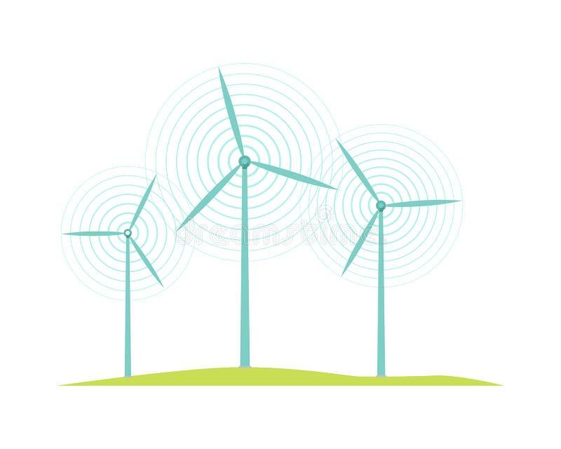 Icônes de moulin à vent d'isolement sur le style plat blanc de conception illustration libre de droits