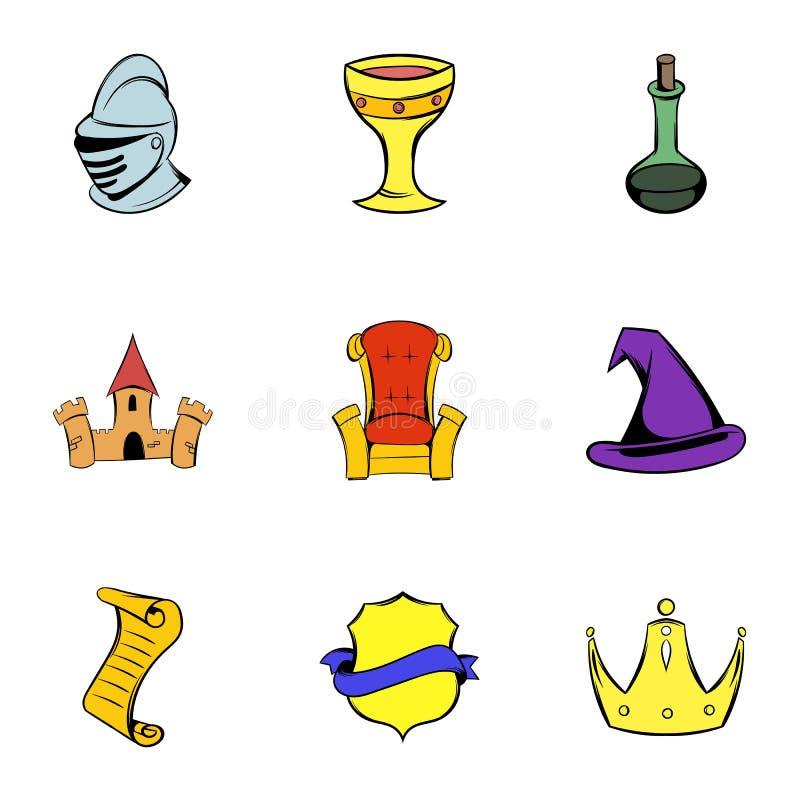 Icônes de Moyen Âge réglées, style de bande dessinée illustration libre de droits