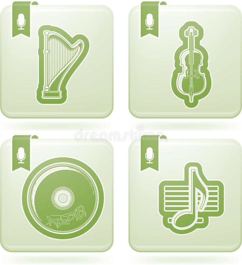 Icônes de musique illustration stock