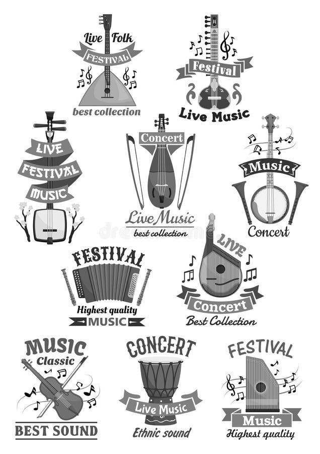 Icônes de musique en direct et instruments de musique de vecteur illustration libre de droits