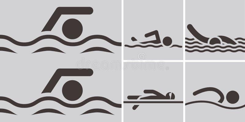 Icônes de natation illustration de vecteur