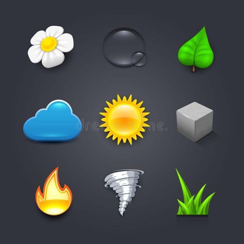 Icônes de nature illustration stock