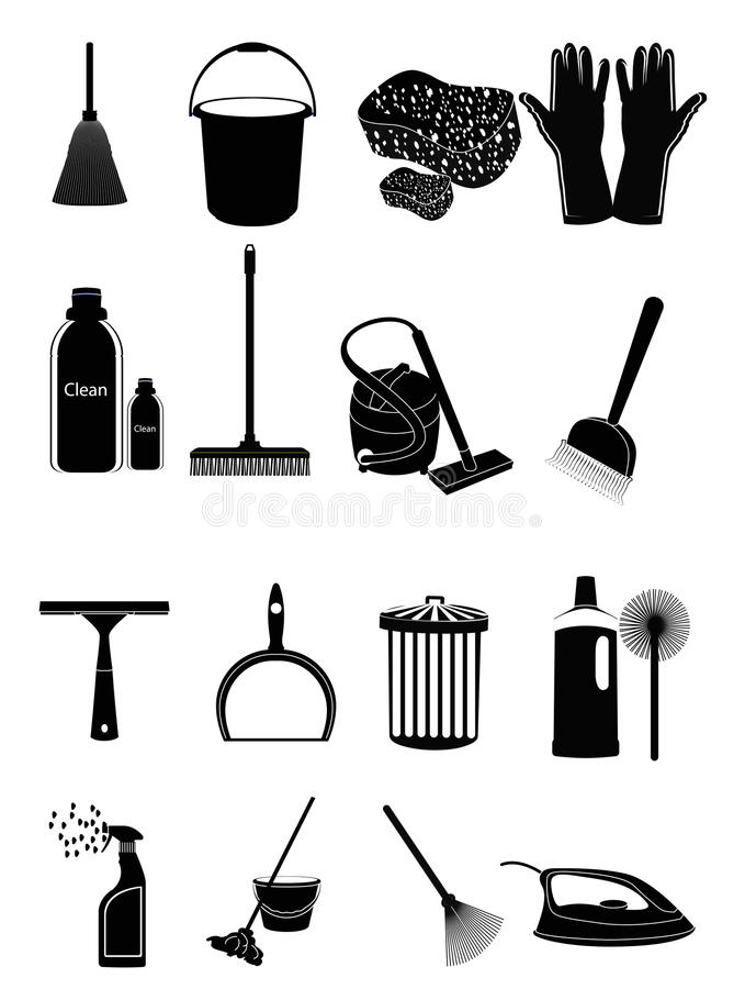 Icônes de nettoyage illustration de vecteur