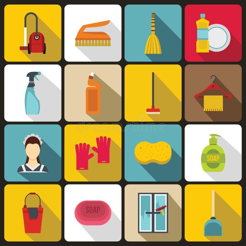 Icônes de nettoyage de Chambre réglées, style plat illustration de vecteur