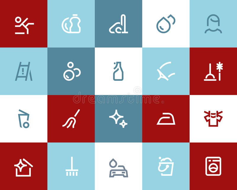 Icônes de nettoyage Style plat illustration de vecteur